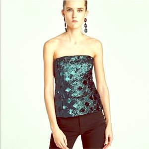 Nwt Zara mermaid sequin top strapless